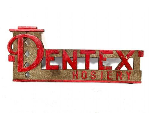 Antique Metal Dentex Hosiery Advertising Sign / Haberdashery Shop Display